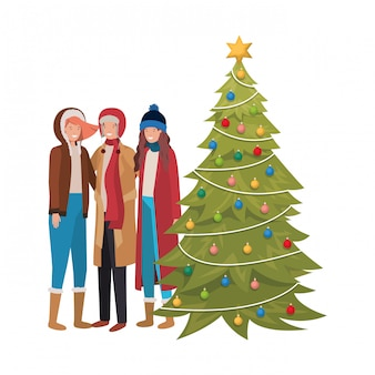 クリスマスツリーのアバターのキャラクターを持つ人々のグループ