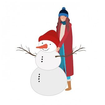 雪だるまのアバターのキャラクターを持つ女性