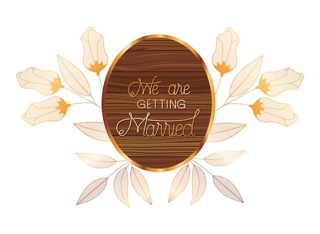 木製のフレームで結婚式の招待状
