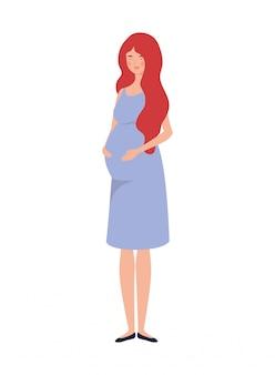 白の上に美しい女性妊娠立って