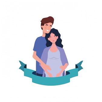 装飾的なリボンと夫と妊娠中の女性