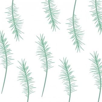 白い背景の葉と枝のパターン