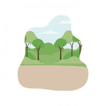 木や植物の分離アイコンのある風景します。