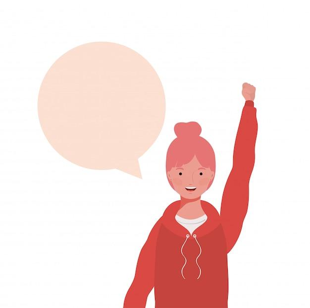 音声バブルのアバターキャラクターを持つ女性