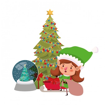 そりとクリスマスツリーのアバターのキャラクターを持つエルフ女性