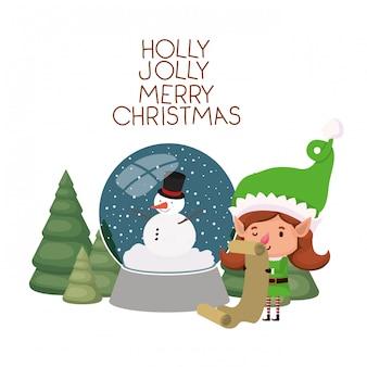エルフ女性のギフトリストとクリスマスツリー