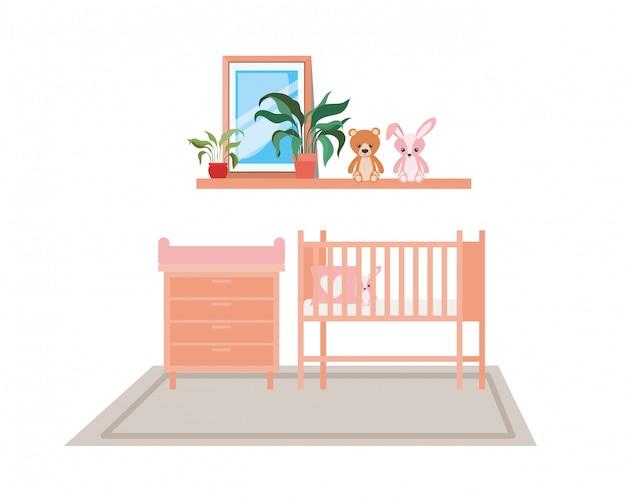 部屋で孤立した赤ちゃんゆりかご