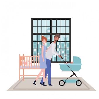 孤立した母と父と赤ちゃん