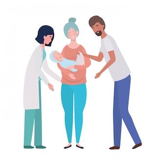 母と父と赤ちゃんと医者