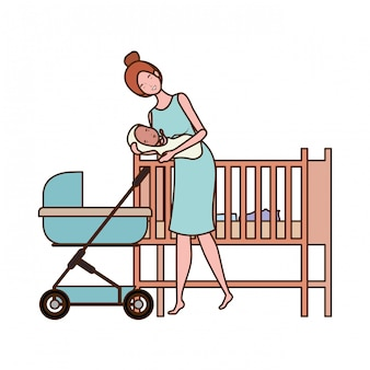 赤ちゃんと隔離された母