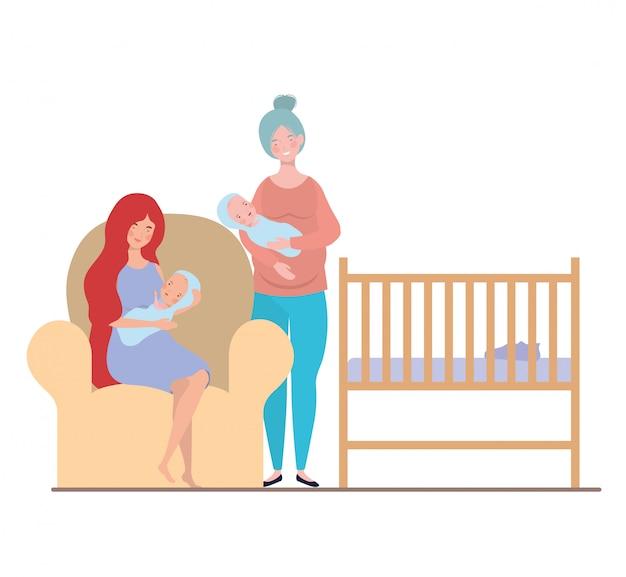 孤立した母親と赤ちゃん
