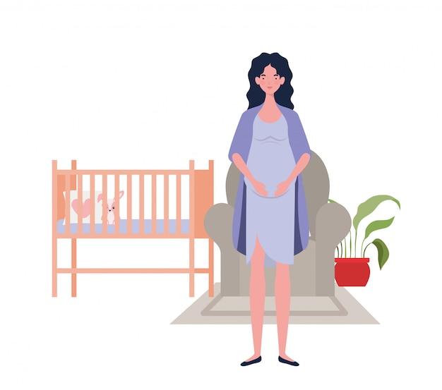 孤立した妊娠中の女性の図