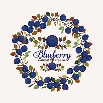 ブルーベリーデザインのベクトル図