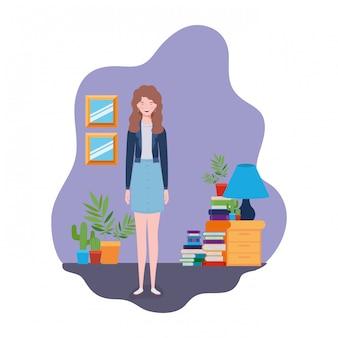木製の本棚と本に立っている女性