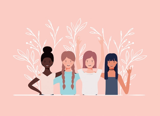 若くて美しい異人種間の女の子グループキャラクター