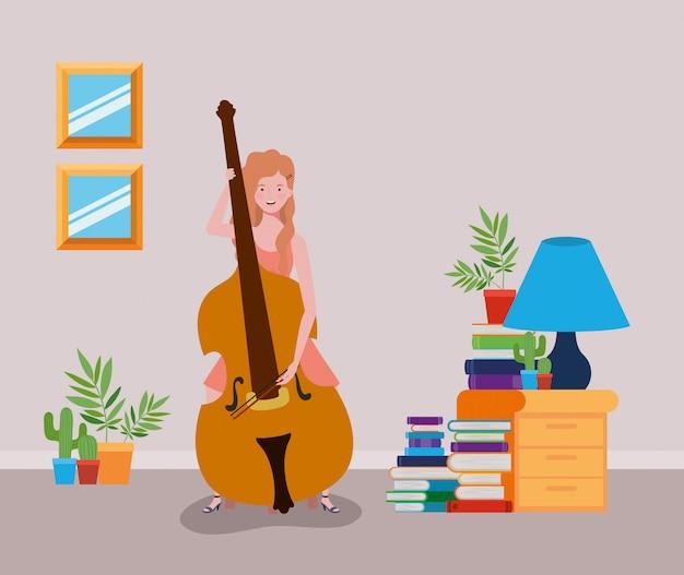 チェロ楽器のキャラクターを演奏する女性