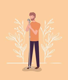 マイク文字で歌う女性