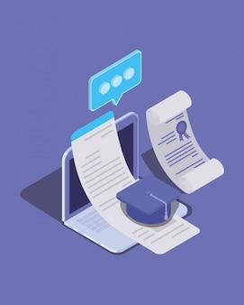 ラップトップを使用したオンライン教育技術
