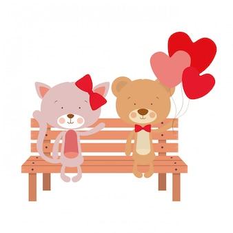 公園の椅子に座っているかわいい動物