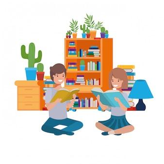 書籍のスタックで座っているカップル