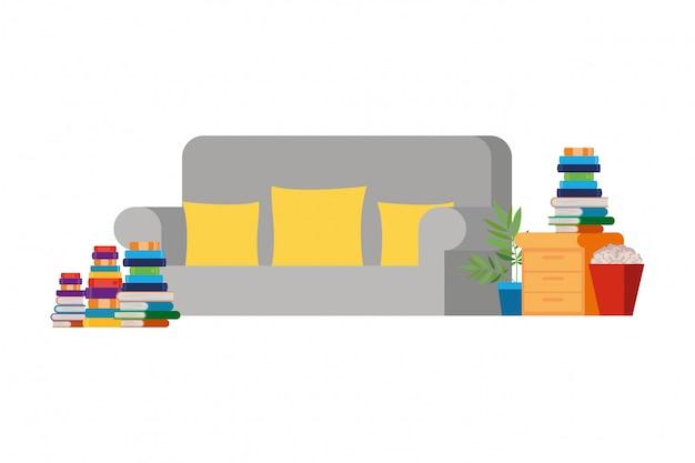 ソファと本のスタック付きのリビングルーム