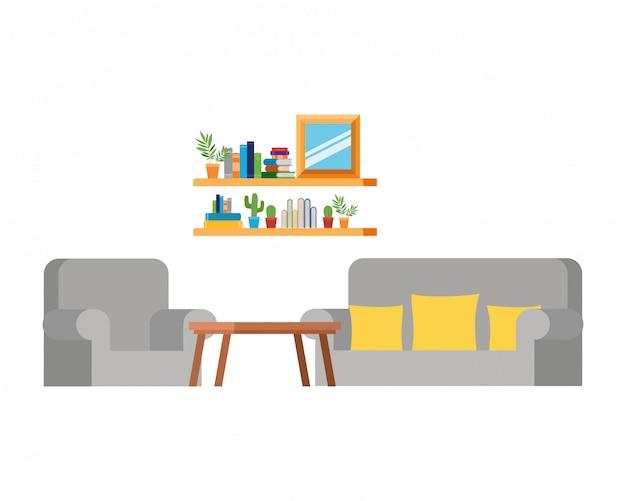 ソファと本の本棚付きのリビングルーム