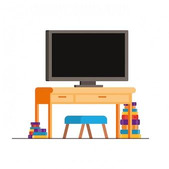 本と木製の棚のプラズマテレビ