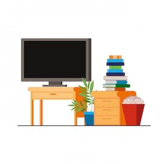 Плазменный телевизор на деревянной полке с книгами