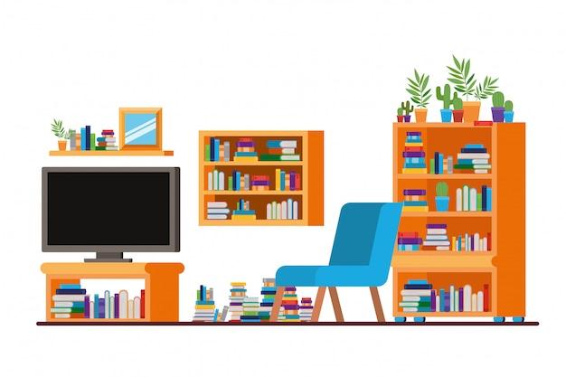 Удобный диван в гостиной с плазменным телевизором