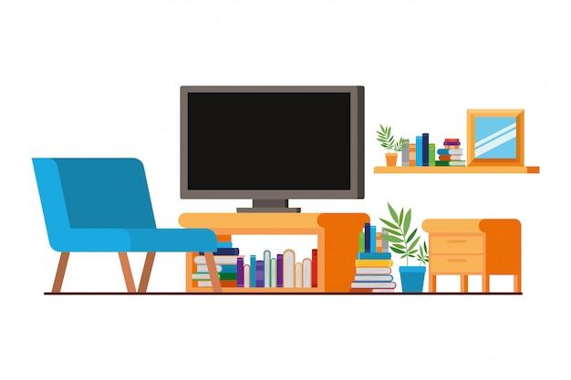 プラズマテレビ付きのリビングルームの快適なソファ