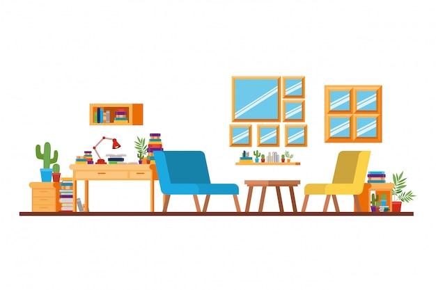 机と本付きのリビングルーム