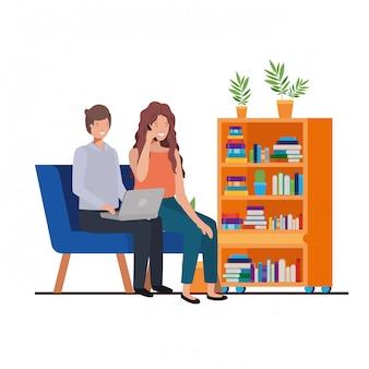 仕事場のアバターキャラクターに座っているカップル