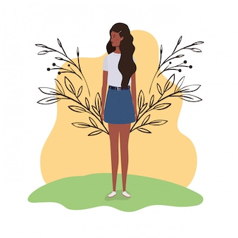 風景イラストで立っている若い女性