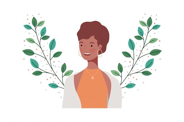 枝と葉を持つ若い女性