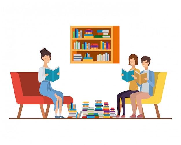 リビングルームで手に本を持つ人々のグループ