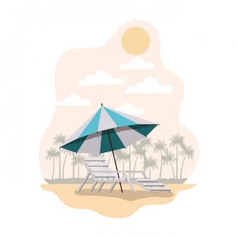 夏のストライプアイコンのビーチパラソル