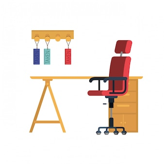 Офисный стол со стулом на белом