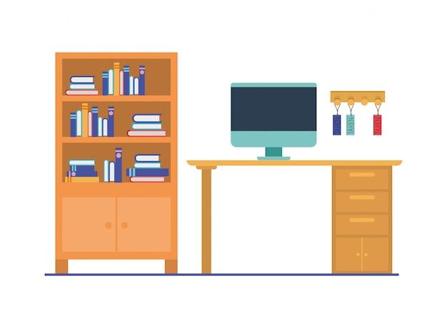 白のオフィスデスク