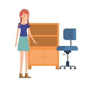 白いアイコンに木製の棚を持つ女性