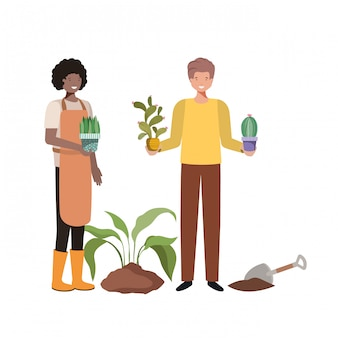 アバターキャラクターを植えるための木とカップルします。
