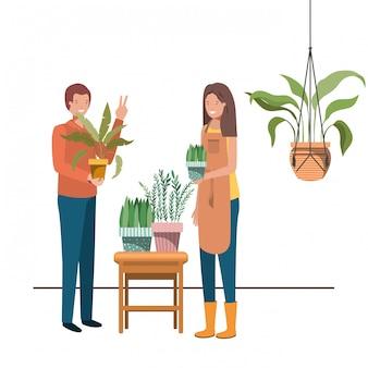 マクラメハンガーに観葉植物をカップルします。