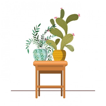 テーブルアイコンに鉢植えのサボテン