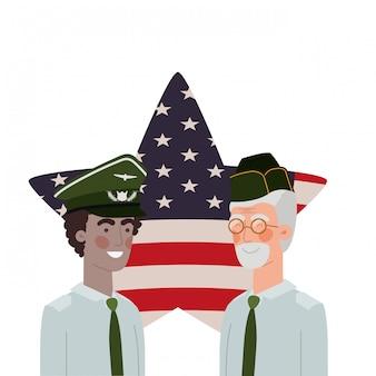 アメリカ合衆国の背景の旗との戦争の男性兵士