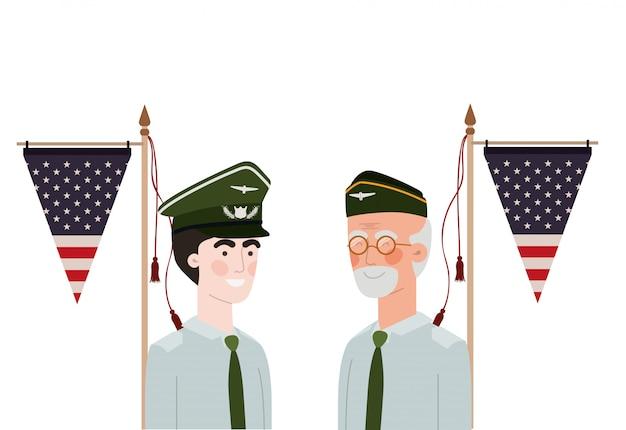 Мужчины солдаты войны с флагом сша фоне