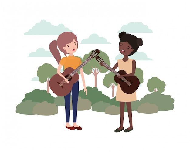 風景の中の楽器を持つ女性