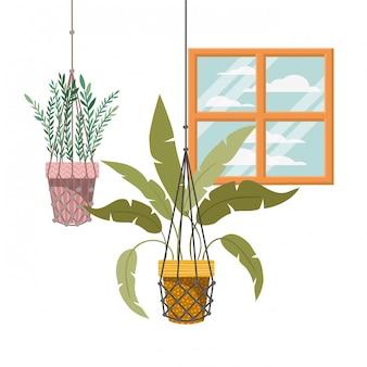 マクラメハンガーアイコンの観葉植物