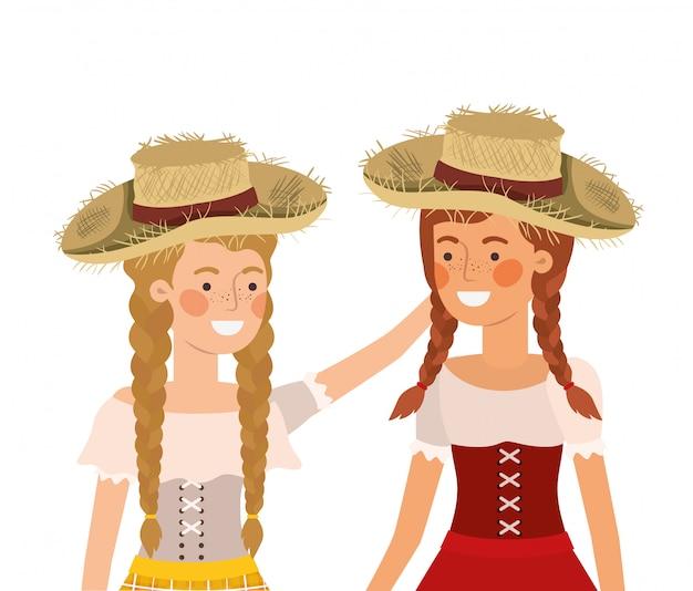 麦わら帽子と話している農家の女性