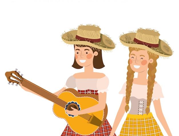 楽器を持つ農家の女性