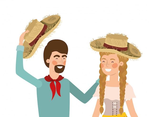 麦わら帽子と話している農夫カップル