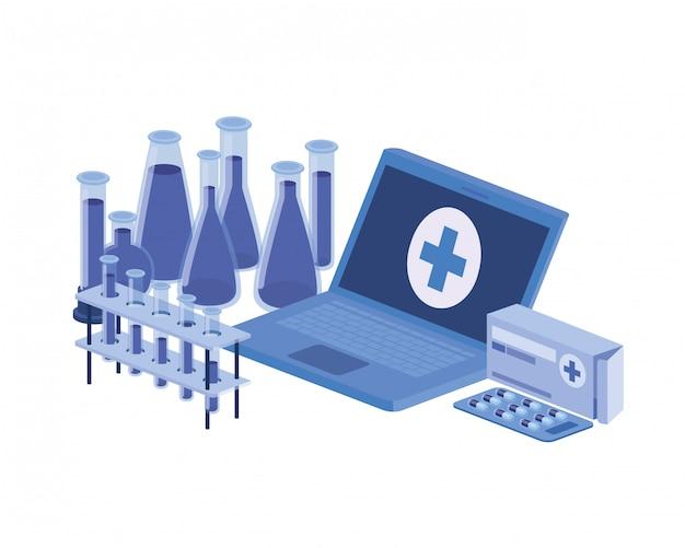 Ноутбук и лабораторные инструменты, изолированных значок